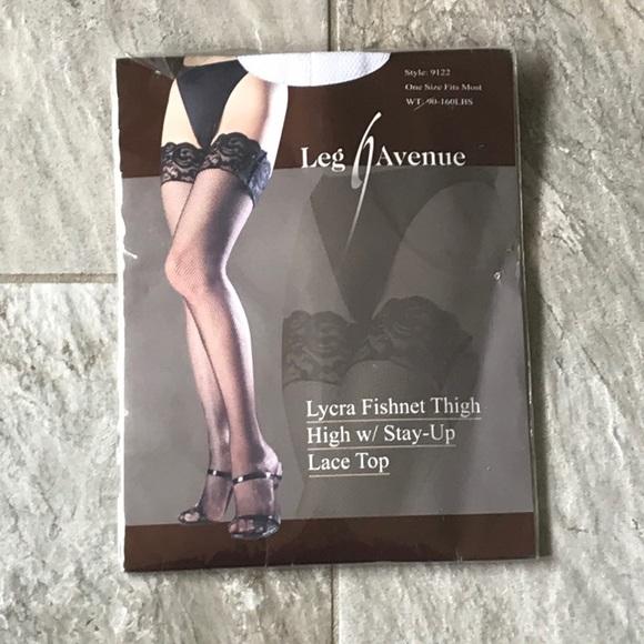 d1805ca5c43 Leg Avenue Intimates & Sleepwear | White Lycra Fishnet Thigh High W ...